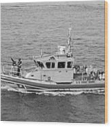 Coast Guard On Patrol In Black And White Wood Print