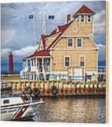 Coast Guard Station On Muskegon Lake Wood Print