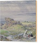 Coast Scene With Children In The Foreground, 19th Century Wood Print