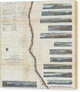 Coast Survey Chart Or Map Of California And Oregan North Of San Francisco Wood Print