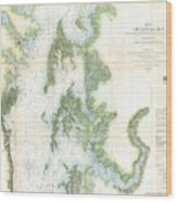 Coast Survey Chart Or Map Of The Chesapeake Bay Wood Print