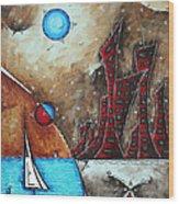 Coastal Abstract Cityscape Art Original City Painting Morning Retreat By Madart Wood Print