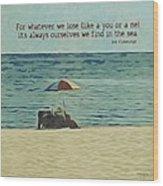 Coastal Beach - E.e. Cummings Sea Quote Wood Print