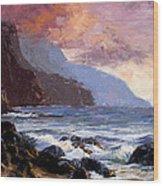 Coastal Cliffs Beckoning Wood Print by Mary Giacomini