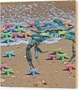 Coastal Crab Collection Wood Print