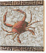 Coastal Crab Decorative Painting Greek Border Design By Madart Studios Wood Print