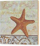 Coastal Decorative Starfish Painting Decorative Art By Megan Duncanson Wood Print