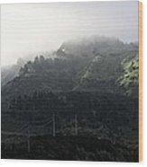 Coastal Fog And Power Poles Wood Print
