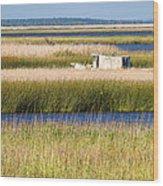 Coastal Marshlands With Old Fishing Boat Wood Print