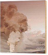 Coastal Steam Plume At Kilauea Volcano Wood Print by Stephen & Donna O'Meara