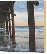 Coastal Sunset At Oceanana Fishing Pier Wood Print
