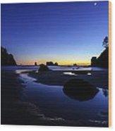 Coastal Sunset Skies Reflection Wood Print