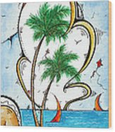 Coastal Tropical Art Contemporary Sailboat Kite Painting Whimsical Design Summer Daze By Madart Wood Print