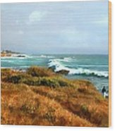 Coastal Waves Roll In To Shore Wood Print