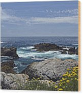 Coastline And Flowers In California's Point Lobos State Natural Reserve Wood Print by Bruce Gourley