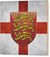 Coat Of Arms And Flag Of England Wood Print