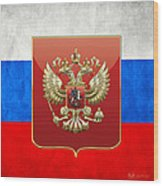 Coat Of Arms And Flag Of Russia Wood Print
