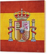 Coat Of Arms And Flag Of Spain Wood Print