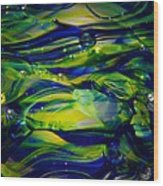 Cobalt Blue And Yellow Glass Macro Abstact Wood Print by David Patterson