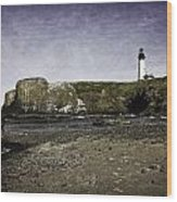 Cobble Beach At Yaquina Lighthouse Wood Print