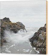 Cobble Beach Waves Wood Print by Sheldon Blackwell