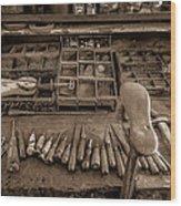Cobblers Tools Bw Wood Print