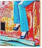 Coca-cola And Stiletto Heels Wood Print