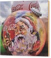 Coca Cola Christmas Bulbs Wood Print
