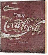 Coca Cola Faded Sign Wood Print