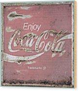 Coca Cola Pastel Grunge Sign Wood Print