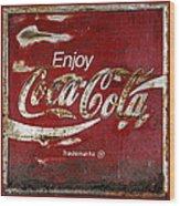 Coca Cola Red Grunge Sign Wood Print