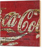 Coca Cola Sign Cracked Paint Wood Print