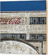 Coca Cola Sign On Old Factory Wood Print