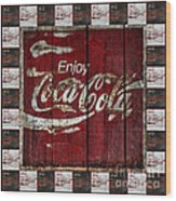 Coca Cola Sign With Little Cokes Border Wood Print