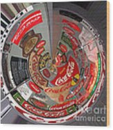 Coca Cola Signs In The Round Wood Print