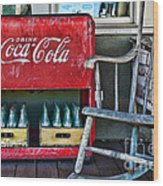 Coca Cola Vintage Cooler And Rocking Chair Wood Print