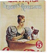 Coca - Cola Vintage Poster - Drink Delicious Refreshing Wood Print