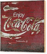 Coca Cola Wood Grunge Sign Wood Print