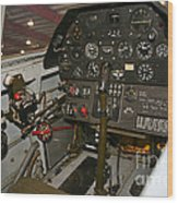 Cockpit Of A P-40e Warhawk Wood Print