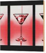Cocktail Triptych In Red Wood Print