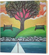 Coconut Grove Park Wood Print