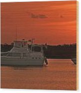 Cabin Cruiser And Red Sunset Over Harbour Wood Print