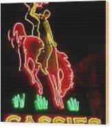 Cody Wyoming Neon Lounge Sign At Night Wood Print