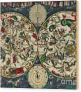 Coeletste Old World Map Wood Print
