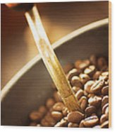 Coffe Beans In The Grinder Wood Print
