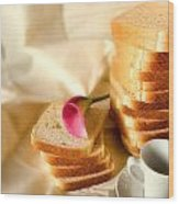 Coffe Bread And Flower In A  White Background Wood Print