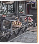 Coffe Shop Cafe Wood Print