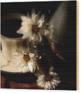 Coffee And Daisies  Wood Print