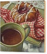 Coffee And Danish Wood Print