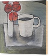 Coffee And Roses Wood Print
